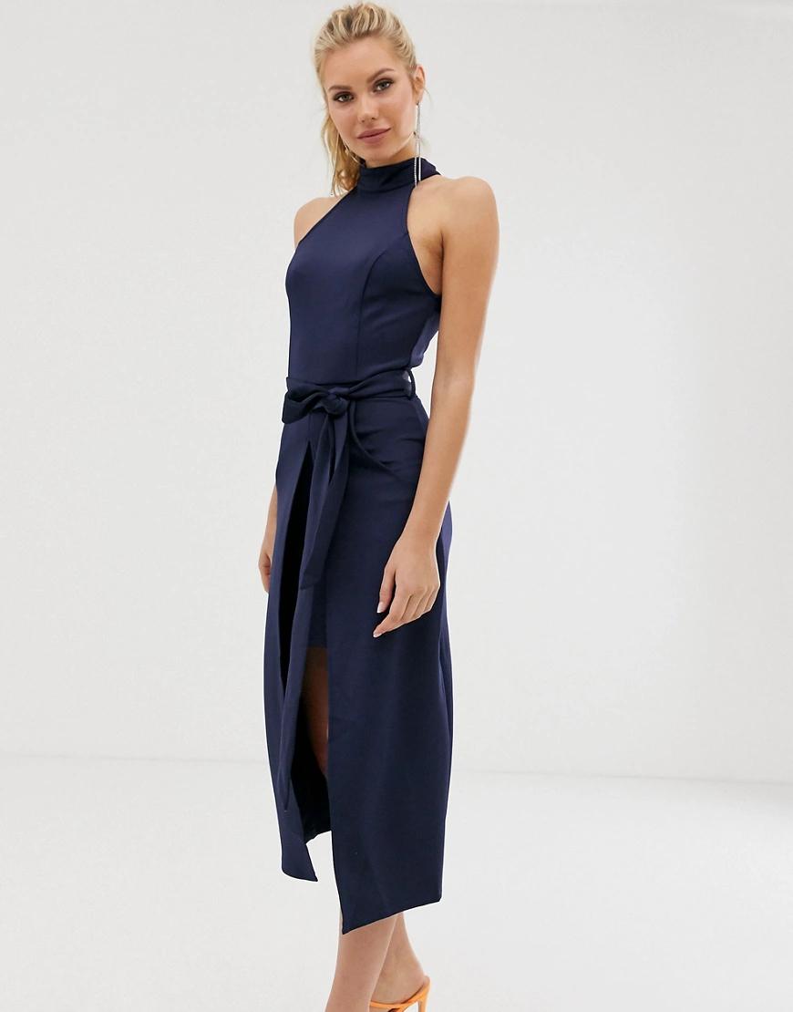 Girl In Mind | Платье миди с высоким воротом и разрезом Girl In Мiпd-Темно-синий | Clouty