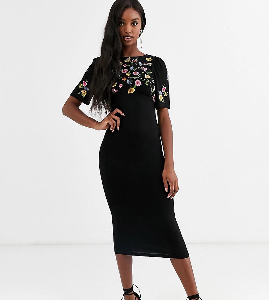 ASOS DESIGN | Платье миди с вышивкой ASOS DESIGN Таll-Черный | Clouty