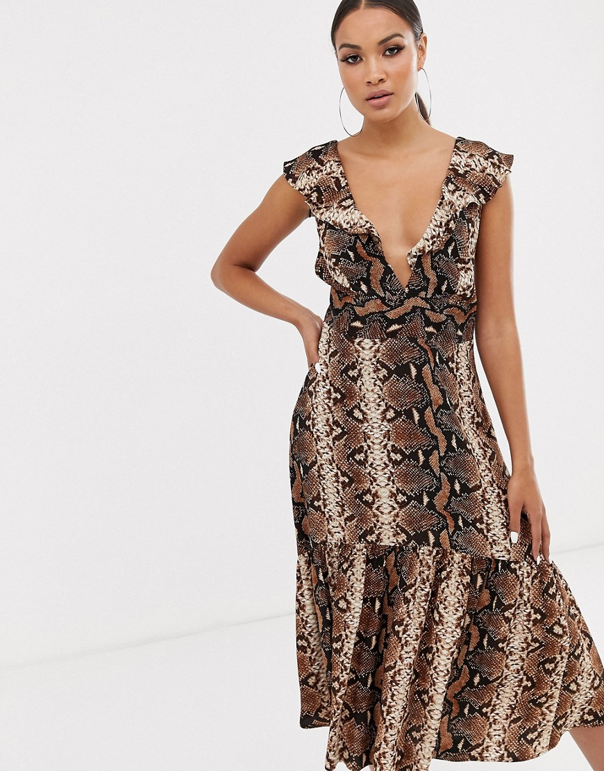 River Island | Платье миди со змеиным принтом River Island-Мульти | Clouty