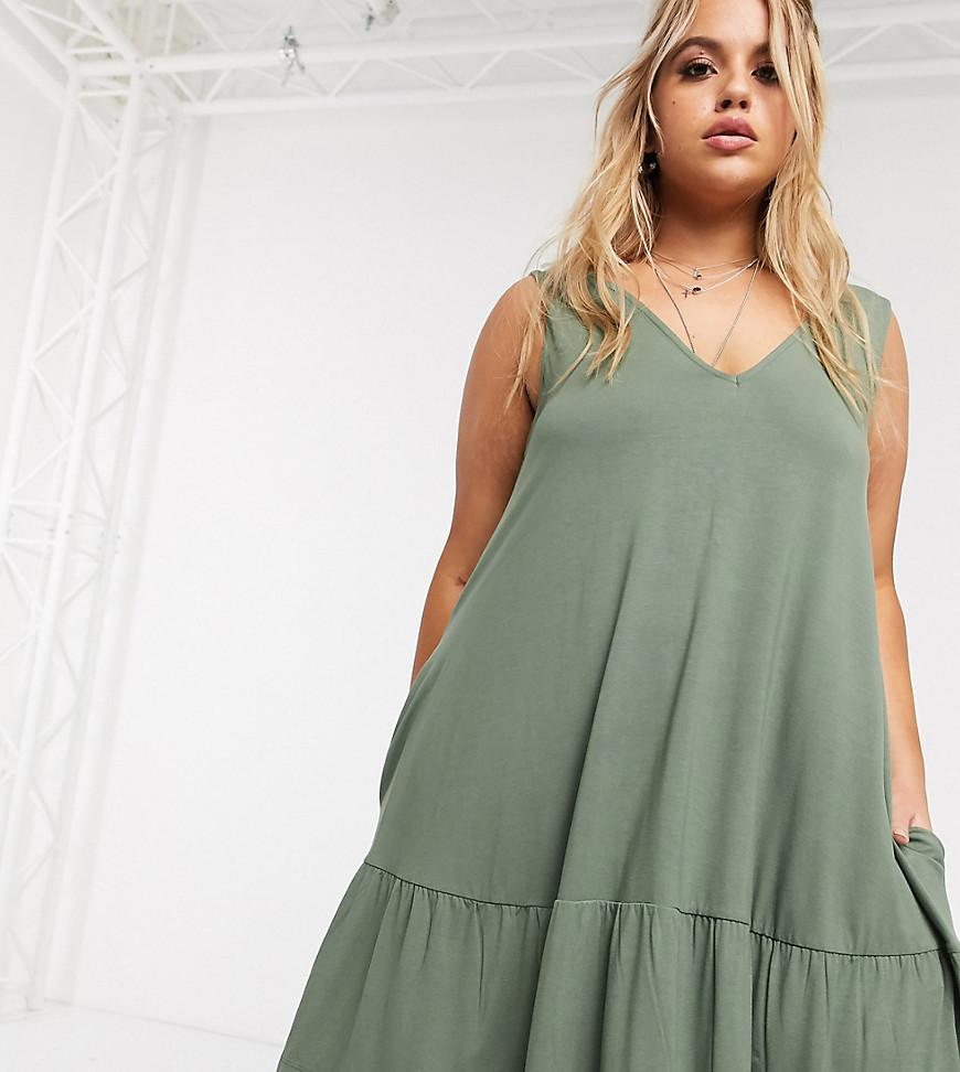 ASOS DESIGN | Платье мини цвета хаки с оборкой на подоле и карманами ASOS DESIGN Сиrvе-Зеленый | Clouty