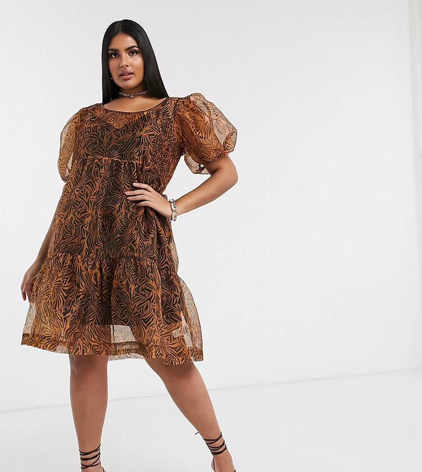 UNIQUE21 Hero | Платье мини из органзы с леопардовым принтом Unique21-Мульти | Clouty