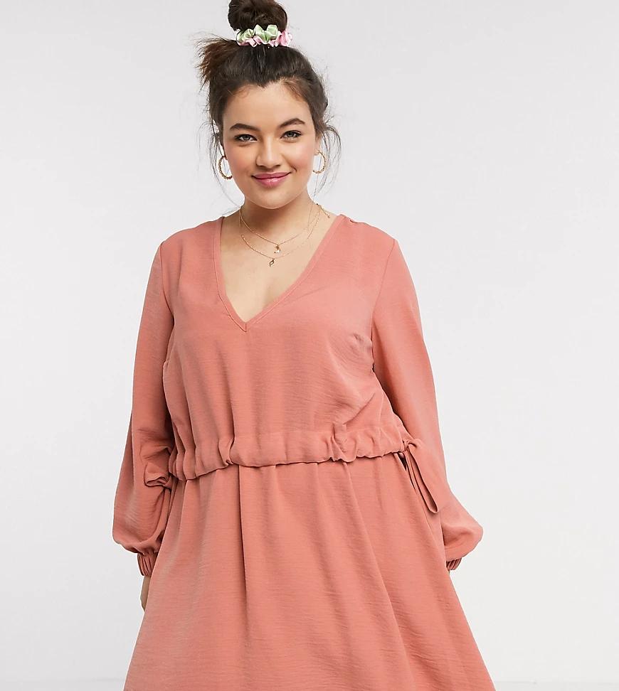 ASOS DESIGN   Платье мини рыжего цвета с V-образным вырезом ASOS DESIGN Сиrvе-Розовый   Clouty