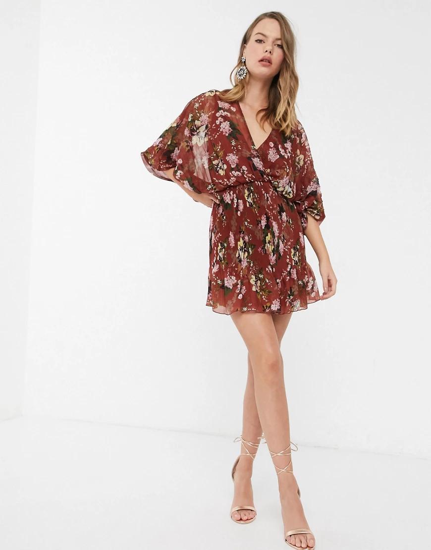 ASOS DESIGN | Платье мини с пышными рукавами и принтом ASOS DESIGN-Мульти | Clouty