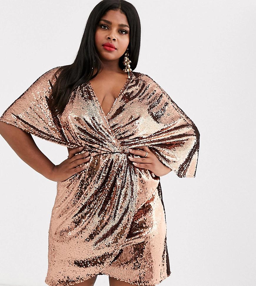 ASOS DESIGN | Платье мини с пайетками и асимметричными рукавами кимоно ASOS DESIGN Сиrvе-Медный | Clouty