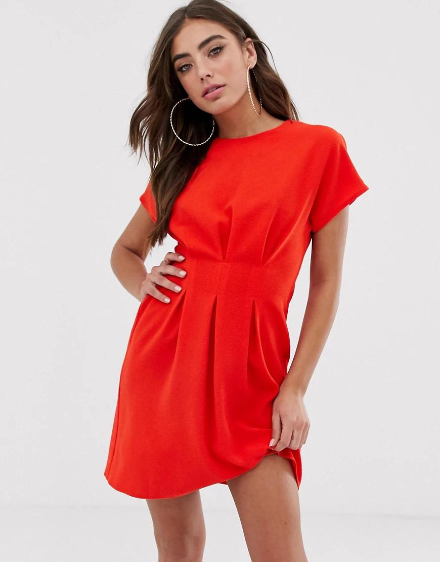ASOS DESIGN | Платье мини с присборенными складками от талии ASOS DЕSIGN-Красный | Clouty