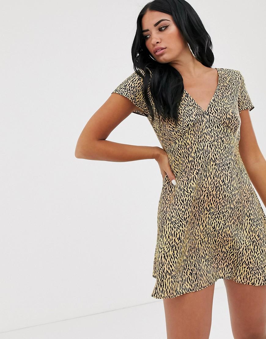 Motel | Платье мини с тигровым принтом Моtеl-Коричневый | Clouty