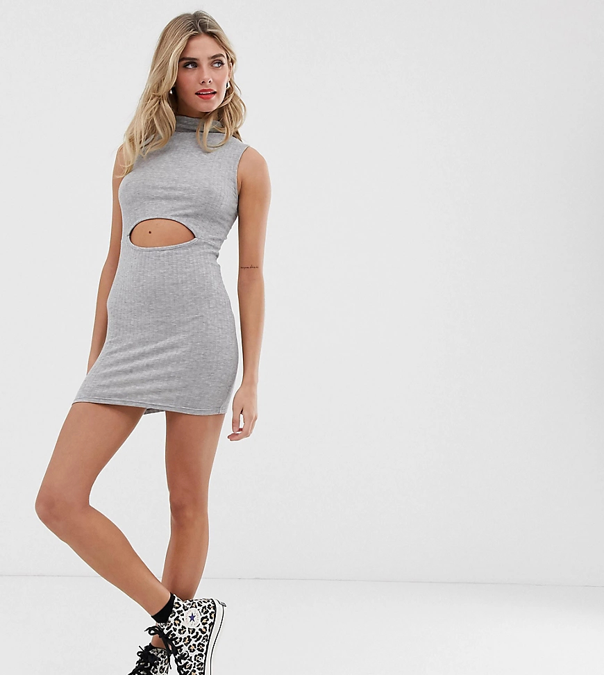 Another Reason | Платье мини с высоким воротом и вырезом Another Reason-Cepый | Clouty