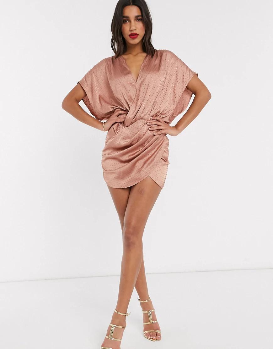 ASOS DESIGN | Платье мини с запахом и заклепками ASOS DЕSIGN-Коричневый цвет | Clouty