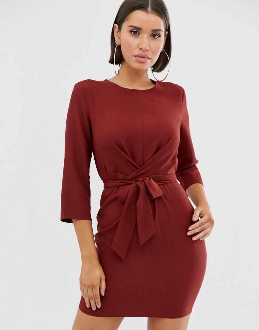 ASOS DESIGN | Платье мини с запахом и завязкой ASOS DЕSIGN-Красный | Clouty