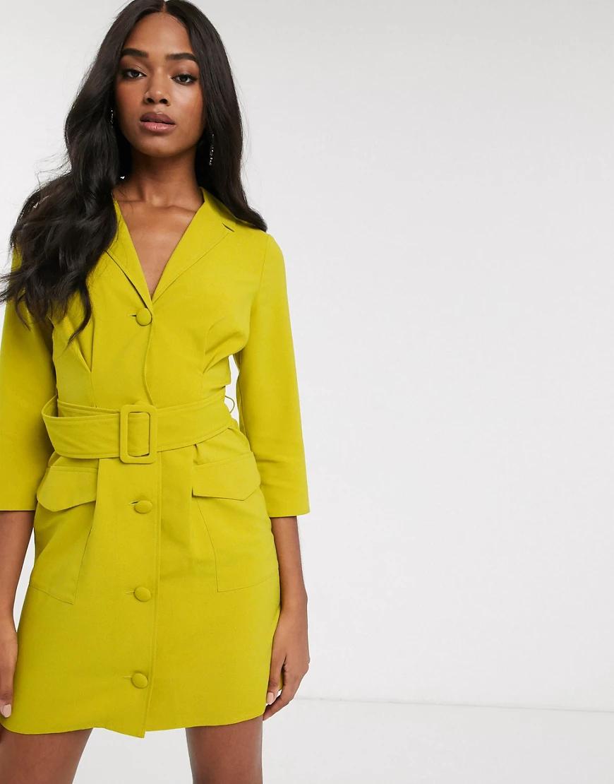 ASOS DESIGN   Платье-смокинг мини с поясом ASOS DЕSIGN-Зеленый   Clouty