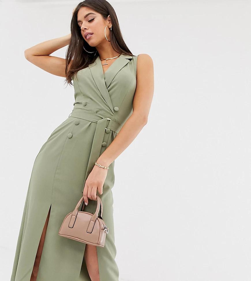 ASOS DESIGN | Платье-смокинг миди без рукавов с поясом ASOS DESIGN Таll-Зеленый | Clouty