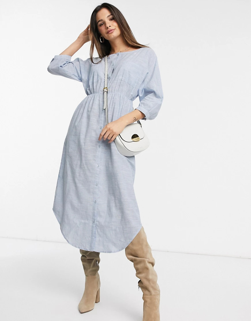 Y.A.S. | Платье-рубашка миди Y.А.S-Синий | Clouty