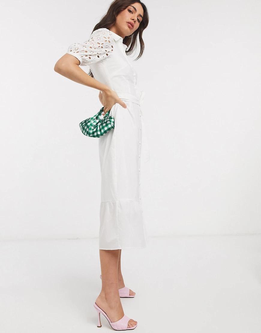 Fashion Union   Платье-рубашка миди с вышивкой ришелье на рукавах Fashion Union-Белый   Clouty