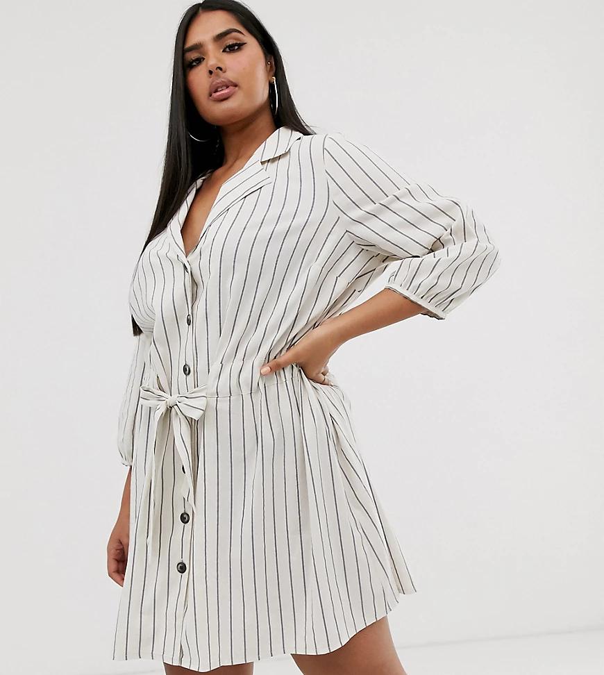ASOS DESIGN | Платье рубашка мини в полоску на пуговицах с присборенной талией ASOS DESIGN Сиrvе-Мульти | Clouty