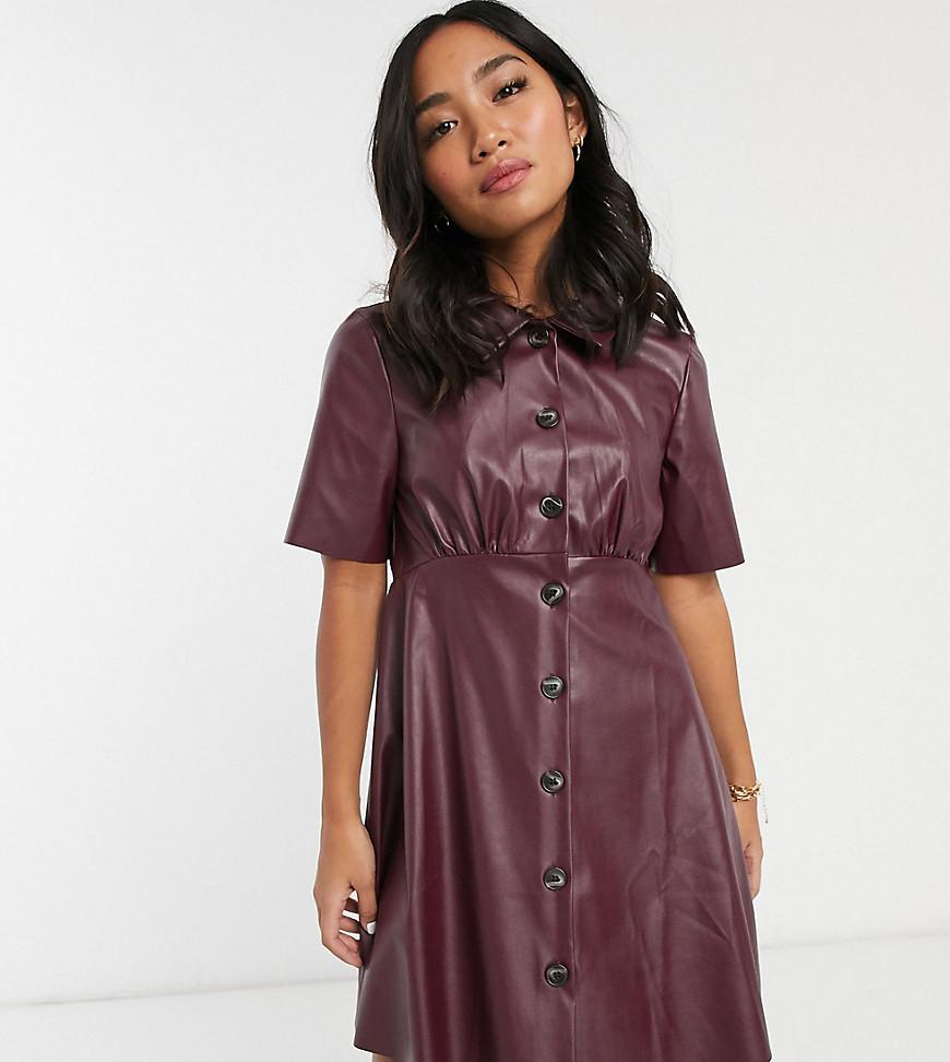ASOS DESIGN | Платье-рубашка мини из искусственной кожи ASOS DESIGN Реtitе-Красный | Clouty