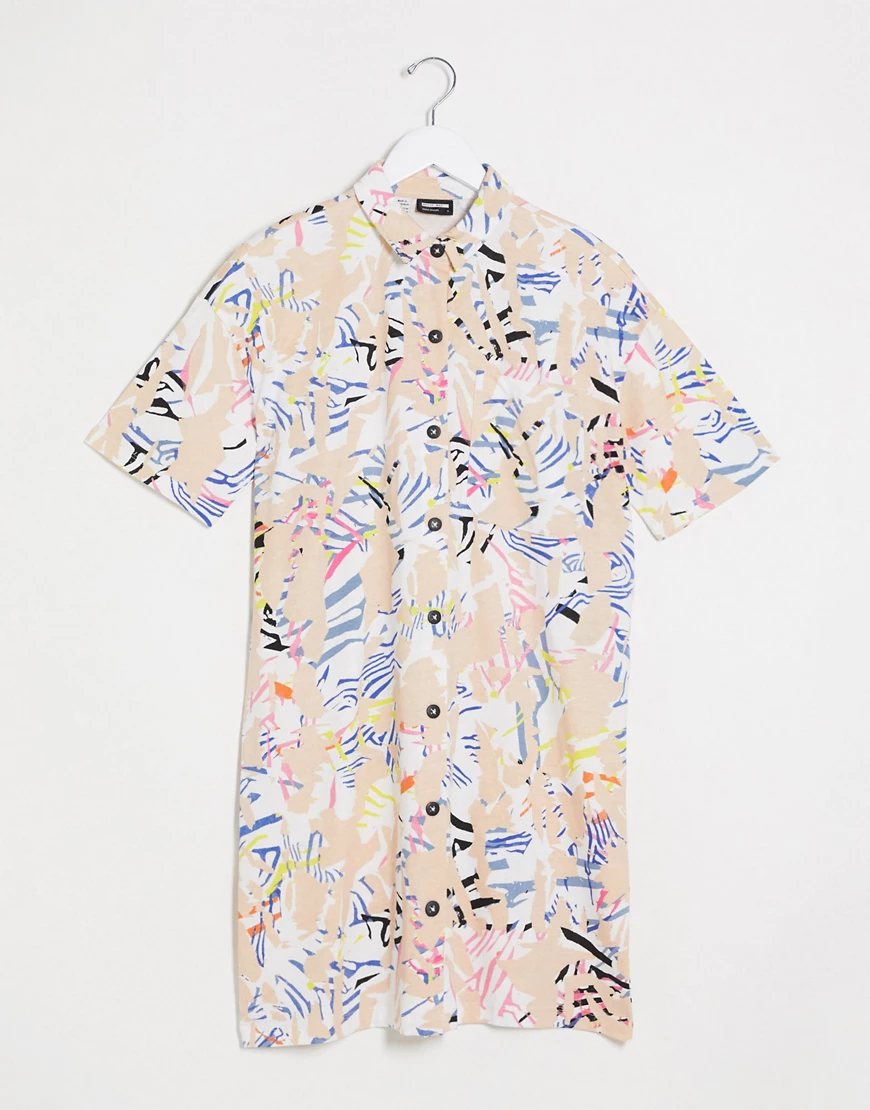 Noisy May | Платье-рубашка мини с абстрактным принтом Noisy Мау-Белый | Clouty