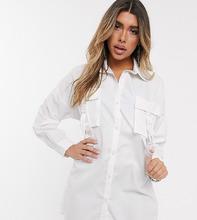 Фото Платье-рубашка в стиле oversize с карманами и ремешками с пряжками Sixth Jипе-Белый