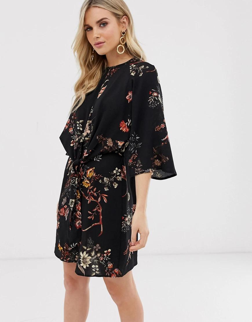 Ax Paris | Платье с цветочным принтом AX Раris-Черный | Clouty