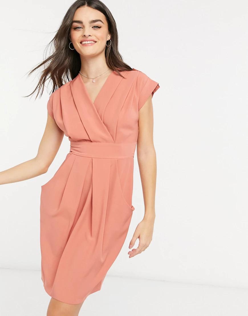 Closet London | Платье с запахом, складками и карманами Closet Lопdоп-Коричневый | Clouty