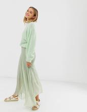 Фото Плиссированная юбка макси из переработанного полиэстера с запахом ASOS DЕSIGN-Зеленый