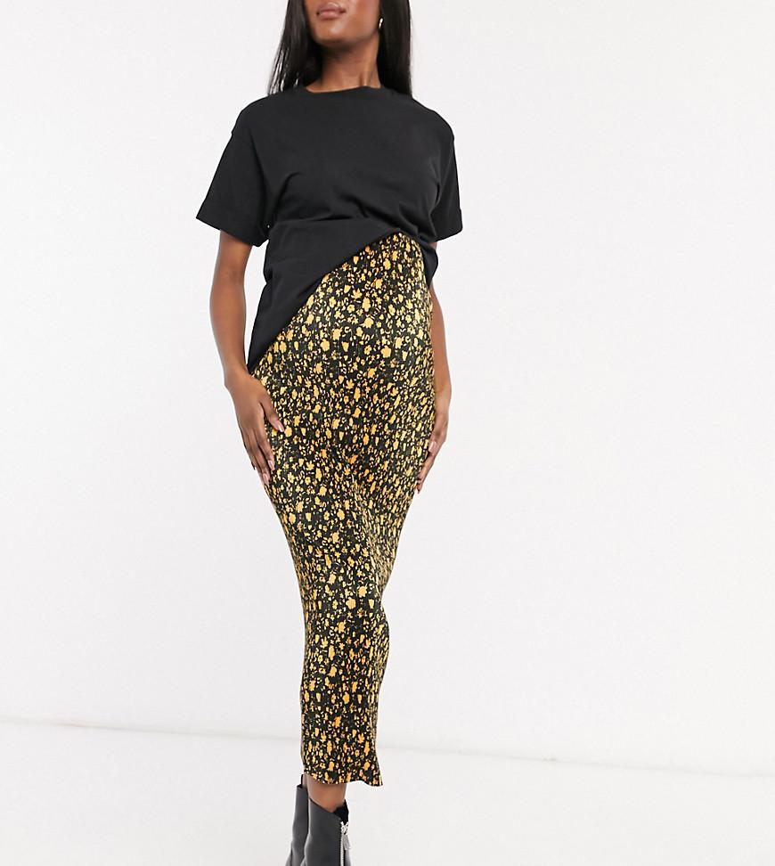 ASOS DESIGN   Плиссированная юбка мидакси цвета охры с цветочным принтом ASOS DESIGN Maternity-Myльтu   Clouty