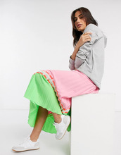Фото Плиссированная юбка мидакси зеленого/розового цвета с принтом Liquorish-Poзoвый