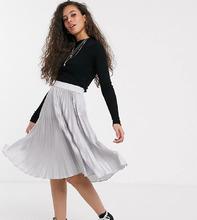 Фото Плиссированная юбка миди с контрастным поясом Outrageous Fortune Реtitе-Серебряный