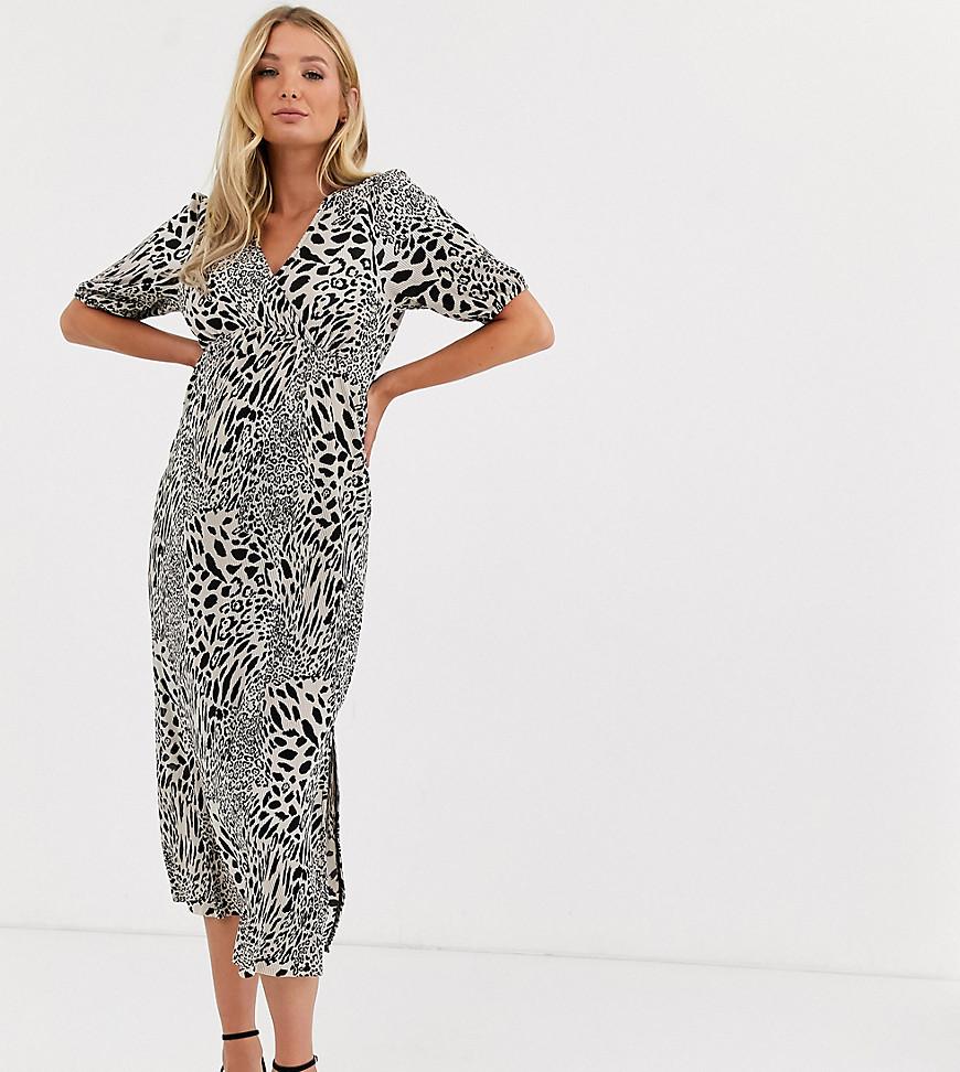 ASOS DESIGN | Плиссированное чайное платье миди с леопардовым принтом ASOS DESIGN Maternity-Myльтu | Clouty