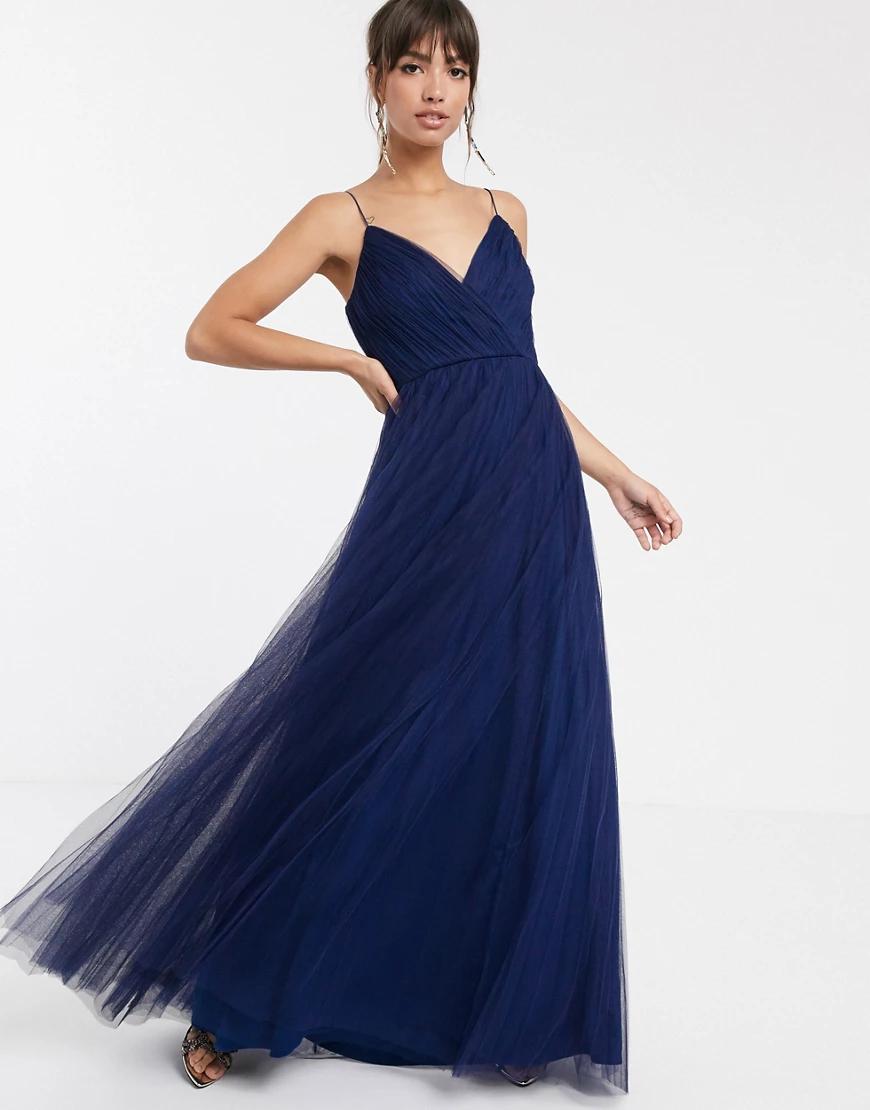 ASOS DESIGN | Плиссированное платье макси из тюля на бретельках ASOS DЕSIGN-Темно-синий | Clouty
