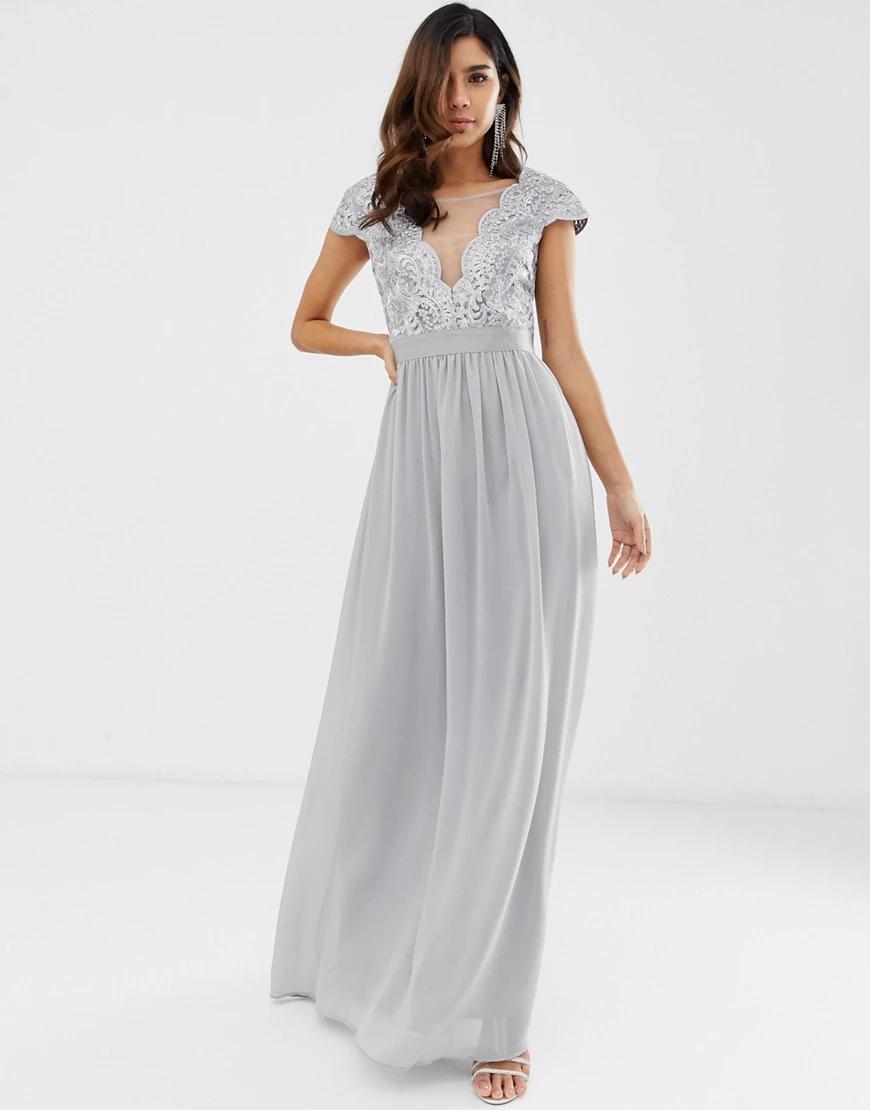 City Goddess | Плиссированное платье макси с кружевом и сеткой City Goddess-Cepый | Clouty