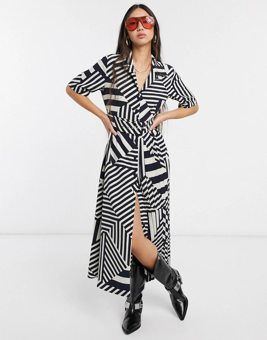 Selected | Плиссированное платье миди в полоску Selected Fеmmе-Мульти | Clouty