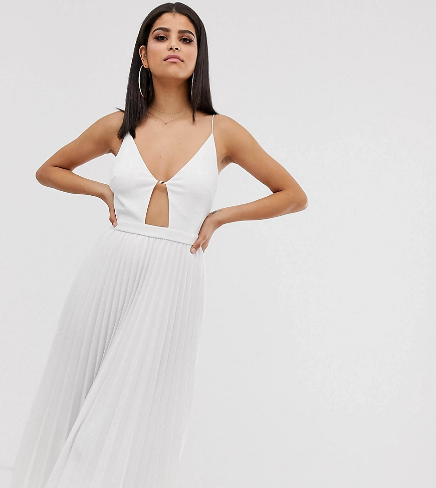 ASOS DESIGN   Плиссированное платье миди ASOS DESIGN Таll-Белый   Clouty