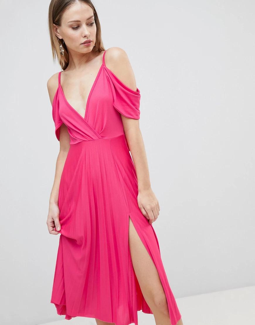 ASOS DESIGN   Плиссированное платье миди с открытыми плечами ASOS DЕSIGN-Розовый   Clouty