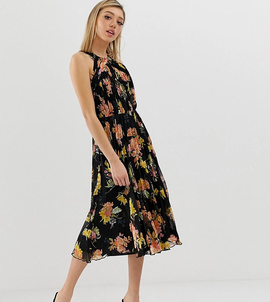 ASOS DESIGN   Плиссированное платье миди с лямкой через шею и цветочным принтом ASOS DESIGN Petite-Мульти   Clouty