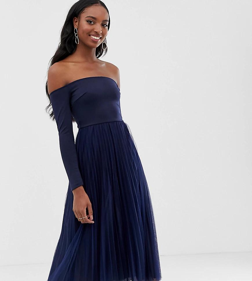 ASOS DESIGN | Плиссированное платье миди с широким вырезом ASOS DESIGN Таll-Синий | Clouty