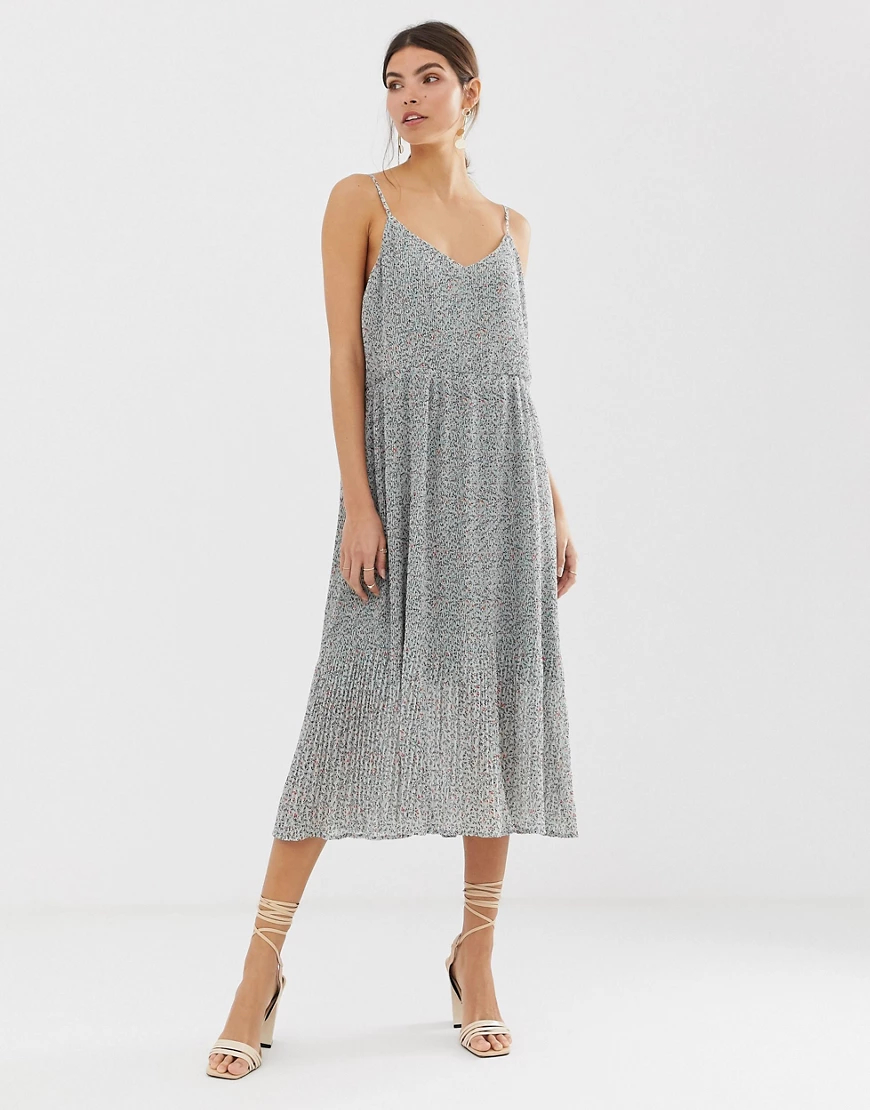 Y.A.S. | Плиссированное платье миди с цветочным принтом Y.А.S-Зеленый | Clouty