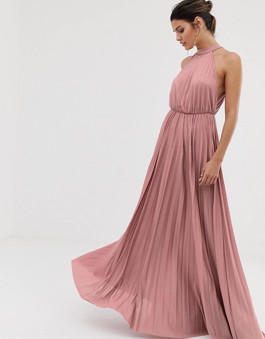 ASOS | Плиссированное приталенное платье макси с американской проймой ASOS DЕSIGN-Розовый | Clouty