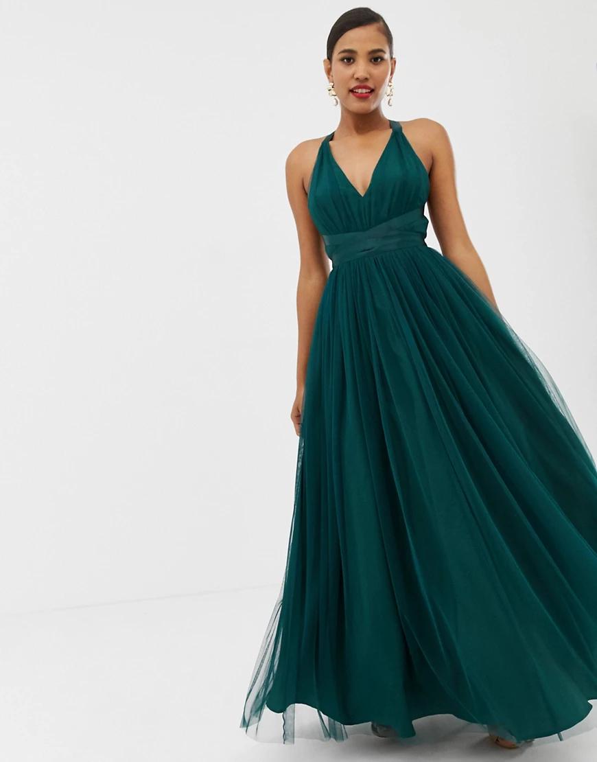 ASOS DESIGN | Премиум-платье для выпускного макси с ленточной завязкой ASOS DЕSIGN-Зеленый | Clouty