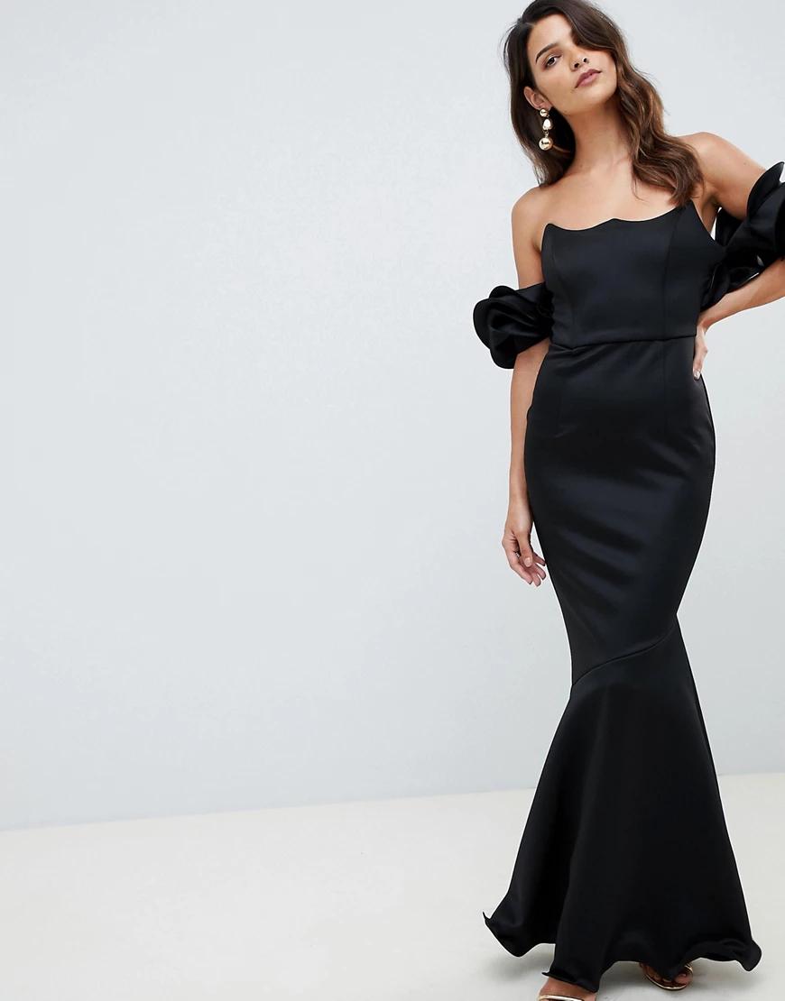 ASOS DESIGN | Премиум-платье макси с широким вырезом и топом на косточках ASOS DESIGN-Черный | Clouty