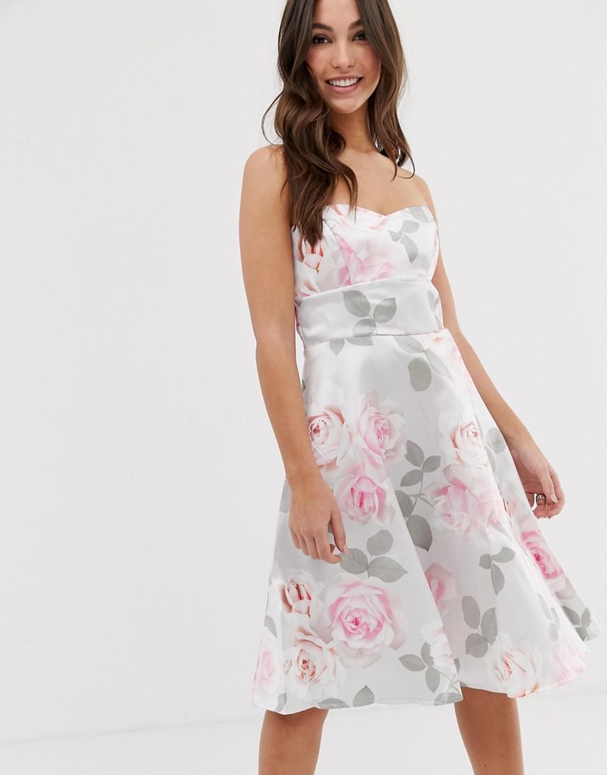 City Goddess | Приталенное платье для выпускного с цветочным принтом City Goddess-Cepый | Clouty