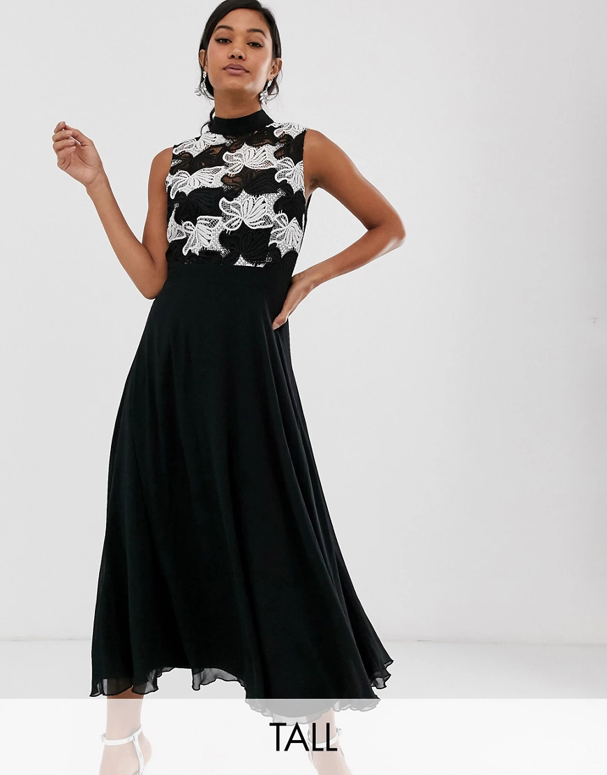 Little Mistress | Приталенное платье миди с расклешенной юбкой Little Mistress Таll-Черный | Clouty