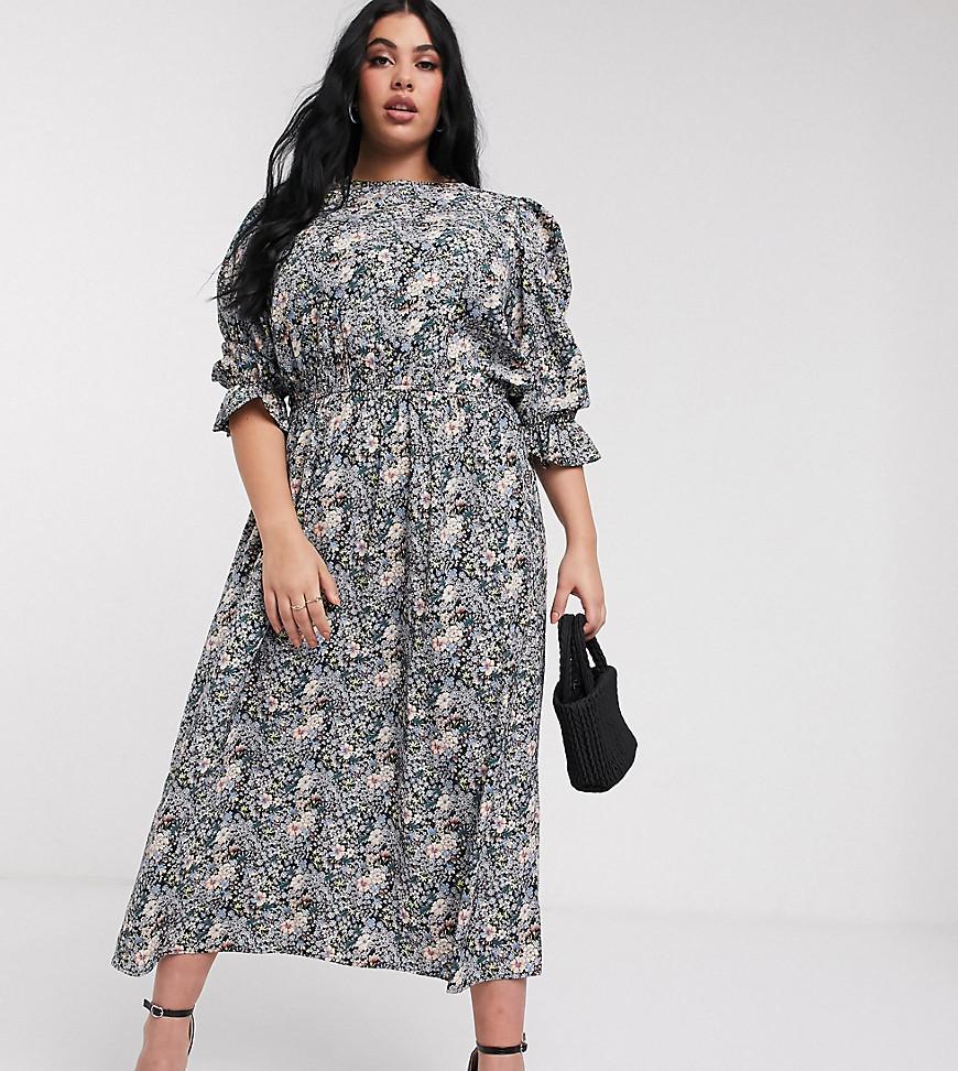 Never Fully Dressed Plus   Приталенное платье миди с цветочным принтом и объемными рукавами Never Fully Dressed Рlиs-Мульти   Clouty