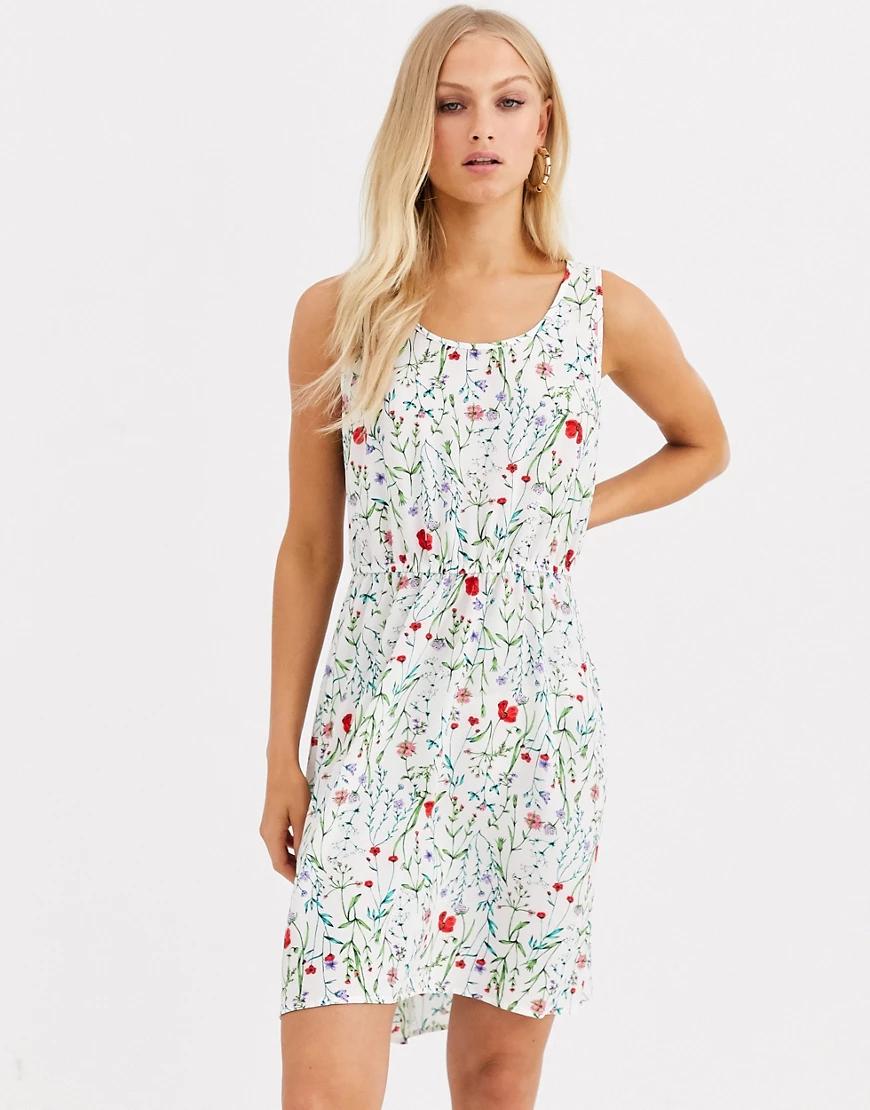 Only   Приталенное платье с цветочным принтом Опlу-Белый   Clouty