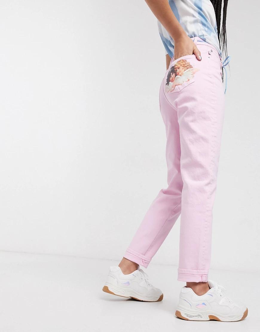 Fiorucci | Розовые джинсы прямого кроя с нашивкой Fiorucci-Poзoвый | Clouty