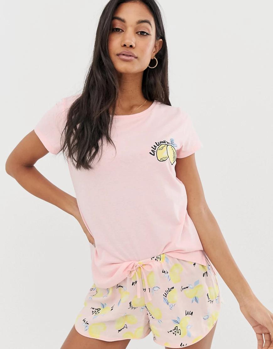 Hunkemoller | Розовые пижамные шорты с принтом лимонов Hunkemoller-Poзoвый | Clouty