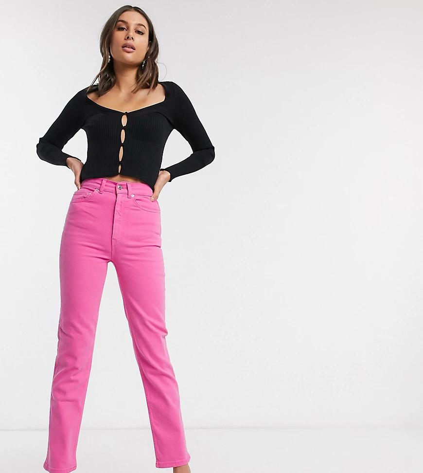 ASOS DESIGN | Розовые прямые джинсы стретч с завышенной талией ASOS DESIGN Таll-Розовый | Clouty