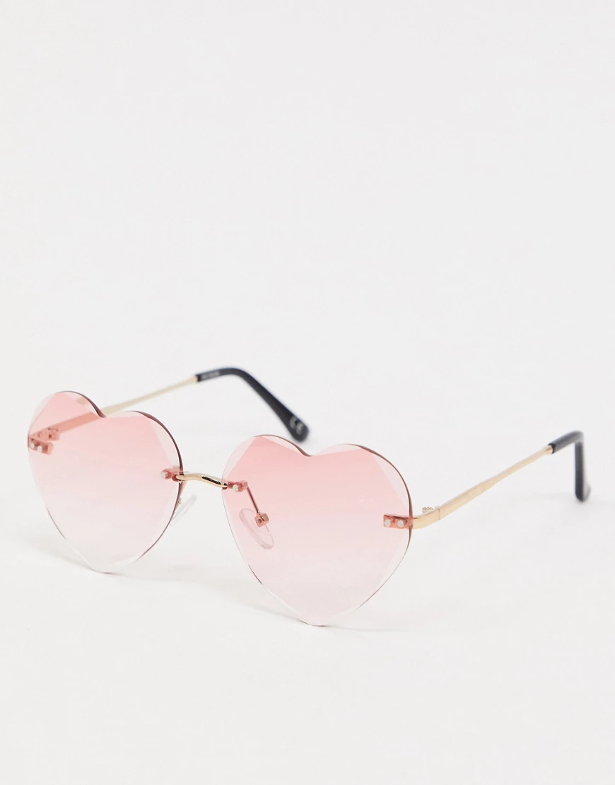 ASOS | Розовые солнцезащитные очки без оправы в форме сердечек ASOS DЕSIGN-Розовый | Clouty