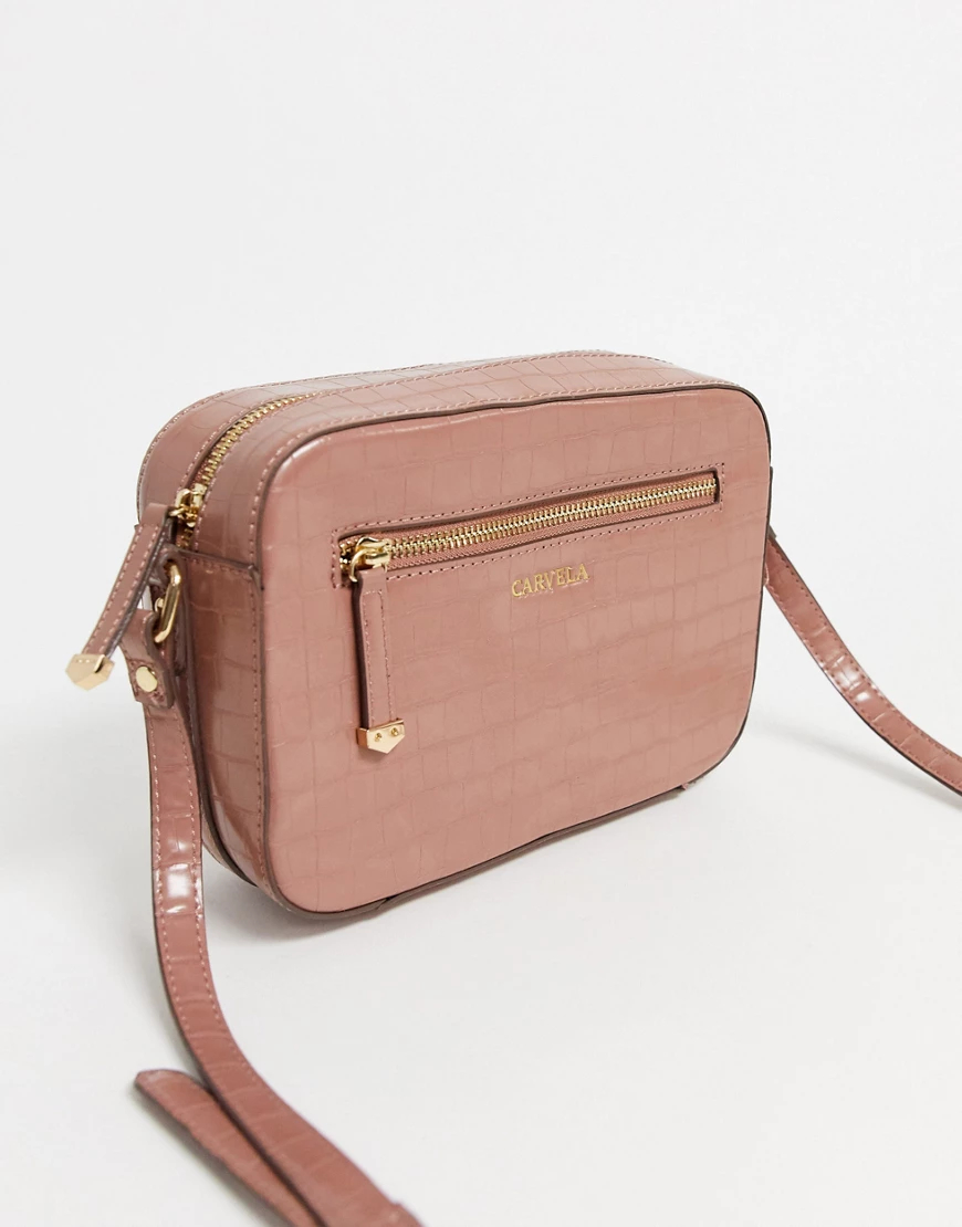 Carvela | Розовая сумка через плечо с эффектом крокодиловой кожи Carvela-Розовый | Clouty