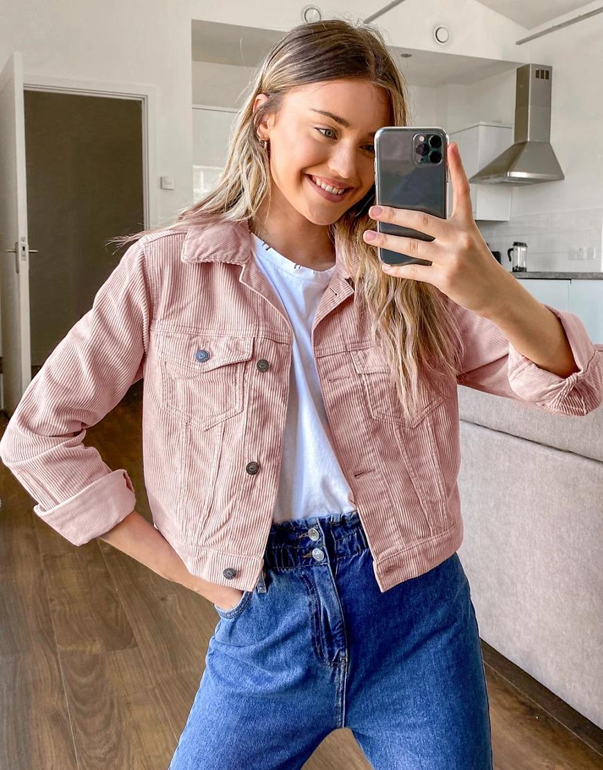 Hollister | Розовая вельветовая куртка Hollister-Poзoвый | Clouty