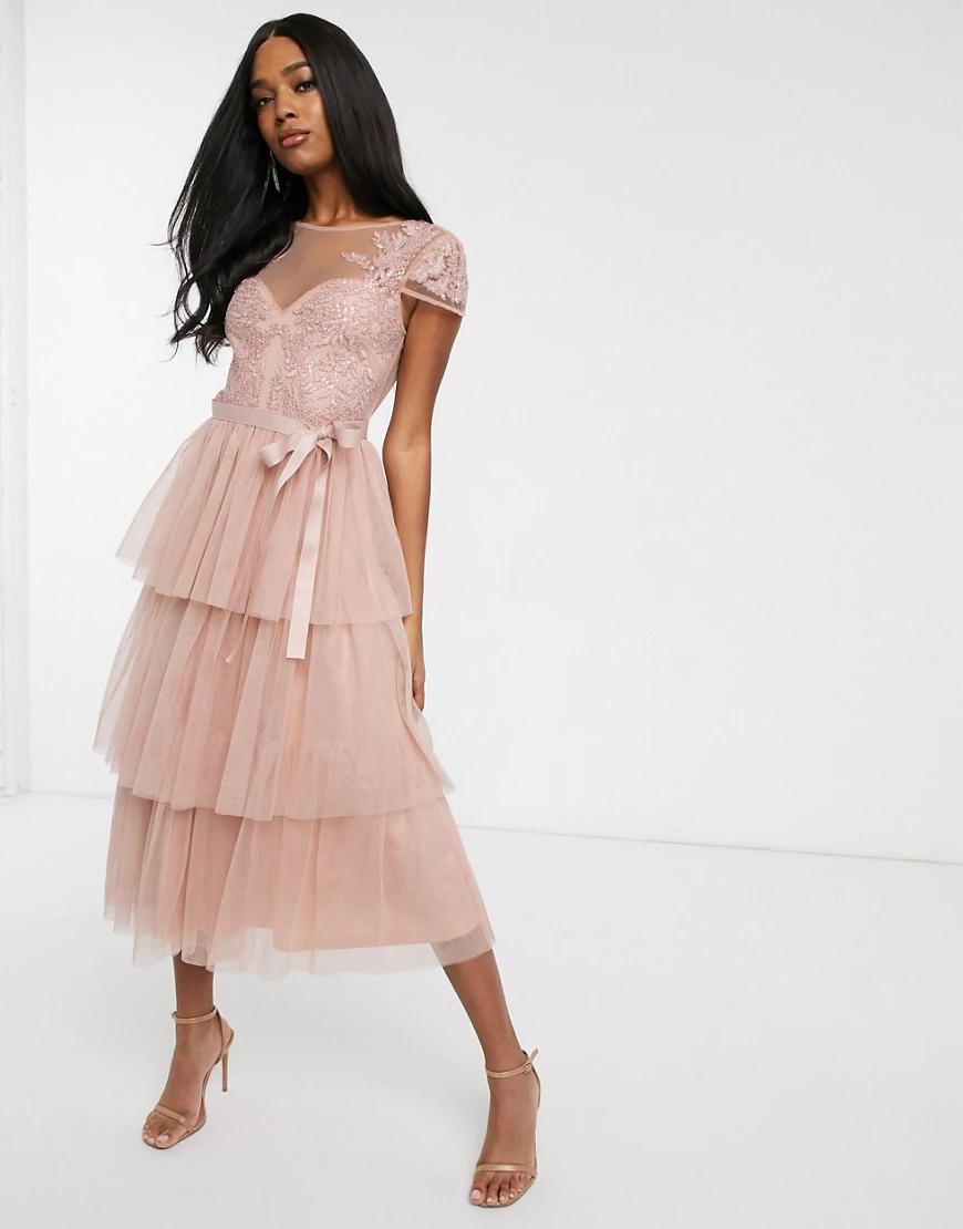 Forever U   Розовое кружевное платье миди с бантом на талии Forever У-Розовый   Clouty